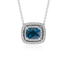 London Blue Topaz Double Halo Necklace in 14k White Gold (10x8mm)