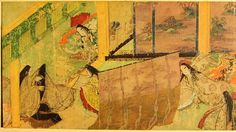 The Tale of Genji hand scrolled illustrations c.1120, first novel ever written