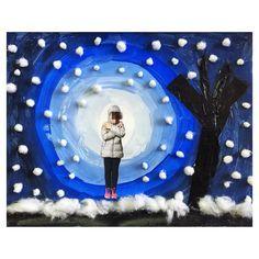 Hivern; cercles concèntrics pintura blava, paper de seda negre, cotó i foto!