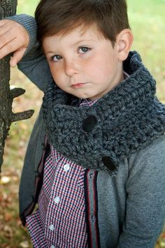 toddler, child, or teen/adult cowl in charcoal chunky scarf for boys and girls, men and women on Etsy, $14.00