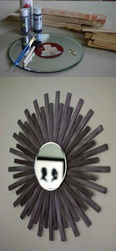 DIY Sunburst Wall Mirror Of Paint Sticks
