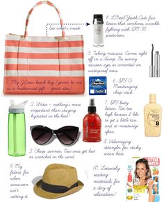 Ideas for packing for the beach (not all are essential.)