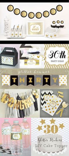 30th Birthday Party Ideas and Decorations in Black and Gold Party Decorations by ModParty