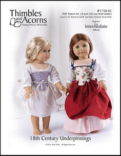 Pixie Faire Thimbles and Acorns 18th Century Underpinnings Doll Clothes Pattern for 18 inch American Girl Dolls - PDF