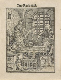 """Hans Holbein the Younger, """"Death and the Rich Man,"""" ca. 1526, woodcut. Bequest of David P. Becker, Class of 1970. Bowdoin College Museum of Art."""