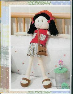Artesanatos com Moldes: pronta para passear Eduardo: Eduardo: Doll Sewing Patterns, Felt Patterns, Sewing Toys, Embroidery Patterns, Sewing Crafts, Diy Crafts, Diy Rag Dolls, Mini E, Felt Angel