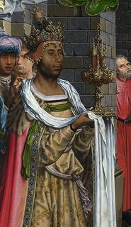 "medievalpoc: Jan Gossaert The Adoration of the Kings 1510-15 Oil on oak 177.2 x 161.8 cm National Gallery, London The details on this work are just amazing. If you're wondering what I mean, the red trim on the Black King, Balthazar's crown, says, ""GOSSAER"