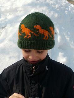 Ravelry: Dinosaur chart pattern by Sandra Jäger Beanie Knitting Patterns Free, Double Knitting Patterns, Mittens Pattern, Knitting Charts, Hat Patterns, Crochet Hats For Boys, Knitting For Kids, Knitting Projects, Baby Knitting