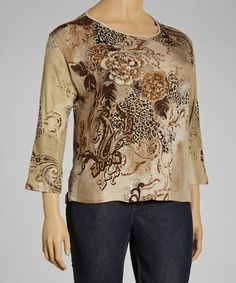 Take a look at this Taupe Jungle Three-Quarter Sleeve Top - Plus by Jeetish on #zulily today!