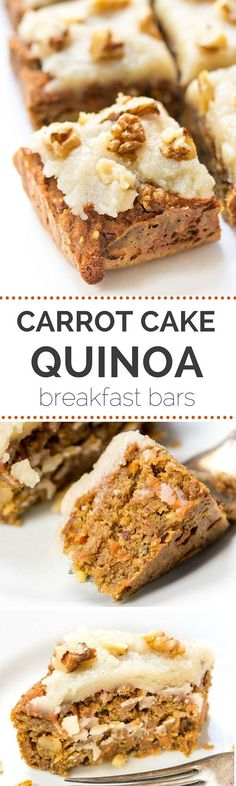 If I could eat cake for breakfast everyday, I TOTALLY would! That's why I'm loving the ingredient list in these VEGAN CARROT CAKE bars...healthy, clean and high-protein!