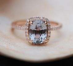 Green blue smokey sapphire engagement ring. 2.58ct sapphire cushion halo diamond  ring 14k Rose gold.