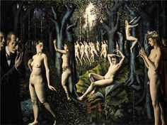 Paul Delvaux (Belgian 1897–1994)   [Surrealism] The Awakening of the forest, 1939.