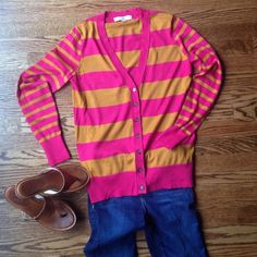 Loft Striped Cardigan size S Loft Striped Cardigan, size S. Like New Without Tags! No signs of wear at all! Button detail and varying size stripes make this so fresh! Love the color combo! LOFT Sweaters Cardigans