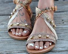 """Sandali in pelle artigianale, fatto a mano greco pelle sandali, cristalli Swarovski, sandali """"Clelia"""""""