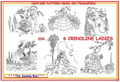 204 - 6 Crinoline lady embroidery transfer patterns