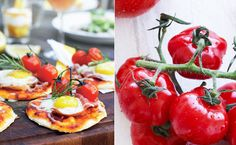Æg, bacon og tomat er klassiske ingredienser i en brunch, men her har vi nyfortolket ingredienserne og lavet en portion sprøde morgenpizzaer, der nok skal få gæsterne til at spærre øjnene op