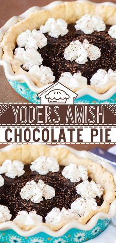 Yoder's Amish Chocolate Pie is a smooth and silky chocolate pie recipe. This delicious Easter dessert is satisfying without being overly rich. This Easter treats practically melts in your mouth. Save this quick and easy chocolate pie recipe! Sweet Desserts, Easy Desserts, Delicious Desserts, Dessert Recipes, Easy Chocolate Pie Recipe, Chocolate Pies, Chocolate Shavings, Easter Treats, Amish