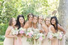 Mixed Bridesmaids.  These colors would look good with tan, taupe or blue seersucker.  Light champagne and blush tones.