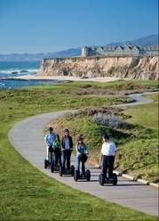 Resorts turn to Segway tours to show off sights. A hotel staff member leads a group of guests on a Segway tour of the Coastal Trail in Half-Moon Bay, Calif.