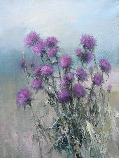 thistle in painting Acrylic Flowers, Oil Painting Flowers, Watercolor Flowers, Watercolor Paintings, Flower Canvas, Flower Art, Abstract Drawings, Art Drawings, Beautiful Flowers Pictures