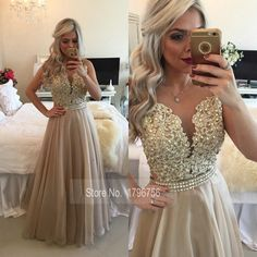 See Through Back Burgundy Evening Dresses Long Chiffon Gold Champagne Lace…