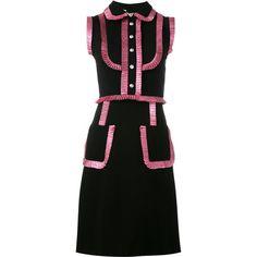 Gucci lurex ruffle trim dress (4,655 CAD) ❤ liked on Polyvore featuring dresses, black, flounce dress, gucci dress, sleeveless dress, pattern dress and gucci