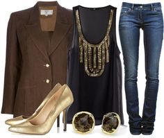 """""""Black & Brown & Gold All Over"""" by qtpiekelso on Polyvore"""