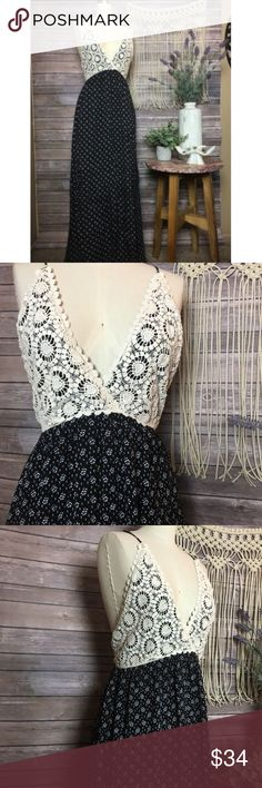 Long Black Maxi Lace Crochet Boho Hippie ✿ the bust is 17 inches laying flat  ✿ the length is 56 inches not including straps   ◑ Excellent Condition  ◑ Ships within one day of payment  ✿Thank you for looking &  feel free to check out my other items!✿ unbranded Dresses Maxi