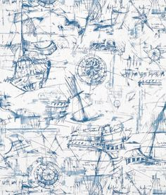 Premier Prints Schooner Nautical Fabric | onlinefabricstore.net  - great source for fabrics for the house.