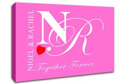 Show details for Your Names And Initials Together Forever Vivid Pink