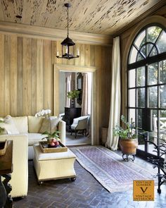 Living area - Pecky cypress ceiling and river recovered cypress paneled walls by Vintage Lumber. Living Room Modern, Living Area, Living Spaces, Living Rooms, Traditional Dining Rooms, Traditional Kitchens, Traditional Bedroom, Brunswick House, Earthy Home