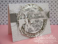 Graciellie Design - Reindeer Elegance card, Classy Cards 'n Such, DT, Christmas, Spellbinders Frosty Forms, Spellbinders Gold Circles One, Double glitter, We R Memory Keepers White Christmas, tutorial