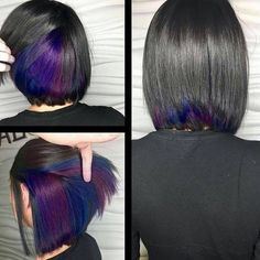 Black, purple, and blue hair