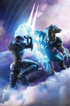 Cover for Halo Escalation series from Dark Horse Comics. Halo 5, Halo Game, Halo Reach, Armor Concept, Concept Art, Odst Halo, Science Fiction, Halo Armor, Halo Sword