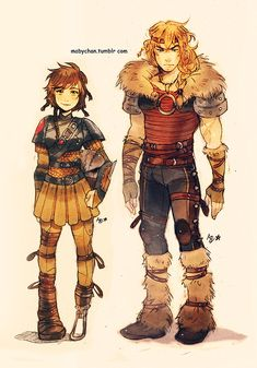 Genderbent Astrid and Hiccup