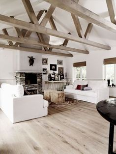 Image result for farmhouse reclaimed wood rafter white wood ceiling