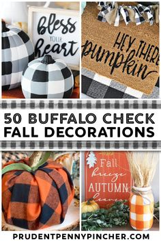 Give your autumn decorations a neutral farmhouse style on a budget with these DIY buffalo check fall decor ideas. From DIY wall art to fall centerpieces, there are plenty of fall decor ideas for the home. These DIY fall decorations will compliment your farmhouse decor and rustic home decor. Wooden Pumpkins, Fabric Pumpkins, Halloween Living Room, Weekend Crafts, Farmhouse Decor, Farmhouse Style, Diy Fall Wreath, Thanksgiving Table Settings, Mason Jar Diy