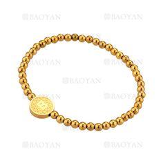 pulsera de bolitas con letra B de dorado en acero-SSBTG1094300