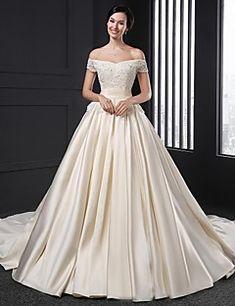 A-line Wedding Dress Chapel Train Off-the-shoulder Satin with Flower / Appliques – USD $ 750.00