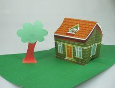 """3D pop up house - UOL Children . Click on link and then """"colour cast"""" to get free templates. http://criancas.uol.com.br/album/passoapasso_casinha_popup_album.jhtm"""