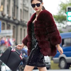dyed red fox fur jacket