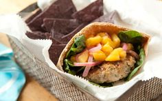 GRILLED PORK BURGERS WITH SAVORY PICKLED PEACHES Spoon leftover pickled peaches onto turkey or ham sandwiches or mix with cream cheese for a sweet and savory dip for crackers. Serve these pork burgers without the pitas, if you like. Pickled Peaches, Ham Wraps, Homemade Ham, Whole Food Recipes, Healthy Recipes, Healthy Food, Pork Burgers, Hamburgers, Grilled Pork