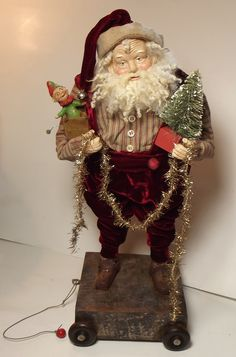 Handmade Santa Claus & Jack-in-the-Box...By Kim Sweet~Kim's Klaus~Vintage Red Velvet~Antique Tinsel Garland & Vintage Red Based Bottle Brush Tree
