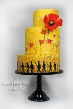 """""""Lest we Forget"""" ANZAC day 100 yrs on cake collaboration - Cake by curiAUSSIEty custom cakes Army Cake, Military Cake, Pretty Cakes, Cute Cakes, Awesome Cakes, Lemon Wedding Cakes, Poppy Cake, Hand Painted Cakes, Anzac Day"""