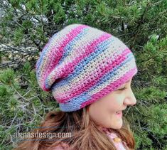 c7e27961ad3 Variegated Slouchy Hat. Free CrochetCrochet HooksKnit CrochetCrochet  BeanieKnitted ...