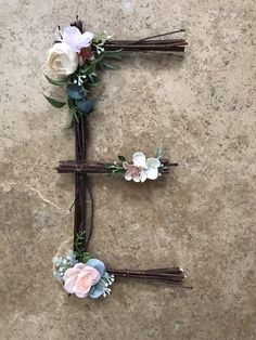 A chic rustic deer antler decor with flower crown. Perfect for a family room or little girls room. Twig Crafts, Nature Crafts, Diy And Crafts, Rustic Wall Letters, Letter Wall, Letter Monogram, Monogram Wall, Stick Letters, Crystal Mobile