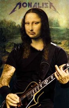 Caricature, Cool Pictures, Funny Pictures, Mona Lisa Smile, La Madone, Mona Lisa Parody, Rock Band Posters, Art Jokes, Rock Music