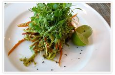 Raw Pad Thai | goop.com ingredients for salad:  2 carrots, julienned 2 zucchini, julienned 1 red pepper, julienned 2 stalks celery, julienned 1 cup alfalfa sprouts ½ cup dried coconut for dressing:  1 red chili, deseeded 1 stalk lemongrass juice of 1 lime ½ cup nama shoyu ½ cup sesame oil