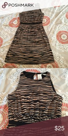 LOFT Dress XS NWT Black & Beigy-brown zebra-print. High neck, back of neck keyhole button clasp, cinched elastic waist, falls just above knee. Purchased but never worn, still has tags! LOFT Dresses Midi