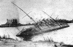 Imperial Russian training ship Pamyat' Azova in Kronstadt, 1919-1921.